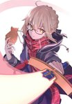 100% absurdres ahoge artoria_pendragon_(all) black-framed_eyewear blonde_hair coat commentary_request dark_persona excalibur fate/grand_order fate_(series) food glasses hair_bun highres holding holding_sword holding_weapon hood hooded_jacket jacket mysterious_heroine_x_(alter) open_clothes open_coat plaid plaid_scarf red_scarf scarf school_uniform semi-rimless_eyewear sword taiyaki under-rim_eyewear wagashi weapon yellow_eyes