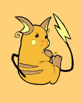 blush no_humans pokemon pokemon_(creature) raichu signature simple_background solo tail