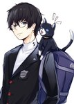 2boys amamiya_ren animal_ear_fluff backpack bad_id bad_twitter_id bag bangs black-framed_eyewear black_cat black_hair black_jacket blazer blue_eyes blue_sclera borushichi cat commentary_request glasses grin highres jacket long_sleeves looking_at_another male_focus morgana_(persona_5) multiple_boys open_mouth parted_lips persona persona_5 shirt simple_background smile tail upper_body white_background white_shirt