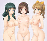 3girls :o bangs blonde_hair blue_eyes blunt_bangs blush bow breasts brown_eyes brown_hair censored commentary_request glasses green_eyes green_hair gundam gundam_build_fighters hair_bow hairband highres kousaka_china large_breasts long_hair looking_at_viewer mosaic_censoring multiple_girls navel nipples nude ootake_akemi open_mouth over-rim_glasses ponytail pussy red-framed_eyewear samejima_yukari semi-rimless_glasses short_hair small_breasts smile thigh_gap wacchi