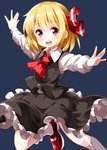 1girl :d ascot bangs black_hair black_skirt black_vest blonde_hair eyebrows_visible_through_hair eyes_visible_through_hair frilled_skirt frills hair_between_eyes hair_ribbon highres long_sleeves looking_at_viewer open_mouth outstretched_arms puffy_long_sleeves puffy_sleeves red_eyes red_neckwear red_ribbon ribbon round_teeth rumia ruu_(tksymkw) shirt shoes short_hair simple_background skirt skirt_set smile socks solo spread_arms teeth touhou upper_teeth vest white_legwear white_shirt wing_collar