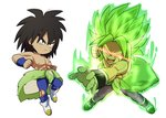 2boys arms_at_sides aura bidarian black_eyes black_hair boots broly_(dragon_ball_super) chibi clenched_hands dragon_ball dragon_ball_super_broly dual_persona expressionless fingernails full_body glowing glowing_eyes green_hair incoming_punch looking_away male_focus multiple_boys nipples no_pupils open_mouth outstretched_arm red_eyes scar shaded_face shirtless short_hair simple_background spiked_hair teeth torn_clothes torn_legwear white_background wristband