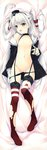 1girl absurdres amatsukaze_(kantai_collection) black_panties choker dakimakura fang full_body garter_straps gloves highres huge_filesize kantai_collection long_hair looking_at_viewer mini_hat open_mouth panties panty_pull red_legwear sailor_collar scan silver_hair single_glove small_breasts small_nipples solo suspenders suzuhira_hiro thighhighs torn_clothes torn_thighhighs two_side_up underwear very_long_hair white_gloves