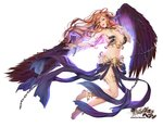1girl angel angel_wings armpits bangs bare_shoulders barefoot black_wings blush breasts chain commentary_request detached_sleeves dress feathered_wings full_body gang_of_heaven large_breasts logo long_hair looking_at_viewer masami_chie official_art orange_hair parted_lips purple_eyes sidelocks simple_background solo thigh_strap white_background wings