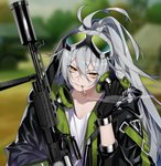 1girl aek-999 aek-999_(girls_frontline) ahoge bangs cigarette commentary deathalice girls_frontline gloves goggles grey_hair gun hair_between_eyes headphones headphones_around_neck jacket long_hair shirt silver_hair smoking weapon white_shirt yellow_eyes