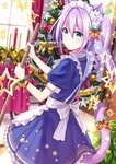 1girl animal_ears apron aqua_eyes bangs blue_dress bow broom candle cat_ears cat_tail christmas christmas_ornaments christmas_tree coconat_summer commentary_request curtains dress frilled_dress frills hair_between_eyes highres holding holding_broom holly indoors long_hair looking_at_viewer looking_back maid maid_headdress original purple_hair red_ribbon ribbon short_sleeves sidelocks solo star sweeping table tablecloth tail tail_bow tinsel twintails white_apron window wrist_ribbon yellow_bow