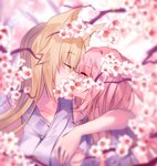 2girls animal_ear_fluff animal_ears arm_around_neck armpits bangs bare_shoulders blonde_hair blurry blurry_background blurry_foreground blush bunny_ears closed_eyes collarbone commentary_request eyebrows_visible_through_hair facing_another flower fox_ears grey_kimono hair_between_eyes highres japanese_clothes kimono kiss long_hair multiple_girls original pink_hair profile sleeveless sleeveless_kimono tree_branch upper_body usagihime very_long_hair white_flower yuri