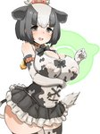 1girl :d animal_ears animal_print arched_back bangs bare_shoulders bell black_bow black_eyes black_hair black_neckwear black_skirt blush bob_cut bow bowtie breasts cleavage commentary_request contrapposto covered_nipples cow_bell cow_ears cow_girl cow_print cow_tail cowboy_shot cross-laced_clothes detached_collar dot_nose elbow_gloves eyebrows_visible_through_hair frilled_skirt frills from_side furau gloves hair_bow half-closed_eyes highres holstein_friesian_cattle_(kemono_friends) impossible_clothes impossible_shirt japari_symbol kemono_friends large_breasts legs_together looking_at_viewer looking_to_the_side microskirt multicolored_hair open_mouth parted_bangs partial_commentary print_gloves print_legwear print_shirt raised_eyebrows red_bow round_teeth shirt short_hair simple_background skindentation skirt sleeveless sleeveless_shirt smile solo standing tail teeth thighhighs topknot two-tone_hair white_background white_hair wing_collar
