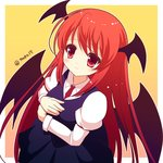 15_(tooka) 1girl demon_wings dress head_wings koakuma necktie red_eyes red_hair smile solo touhou wings