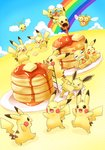 :d >_< alternate_color bird blue_sky blush_stickers brown_eyes carrying closed_eyes cloud combee commentary_request creature day drifloon eating falling floating flying food gen_1_pokemon gen_4_pokemon gen_5_pokemon holding holding_food honey jolteon jumping ladder lai_(pixiv1814979) mouth_hold multiple_heads no_humans o_o open_mouth outstretched_arms pancake pikachu plate pokemon pokemon_(creature) rainbow scared scraggy shiny_pokemon sitting sky smile sphere standing swablu tongue tongue_out yellow