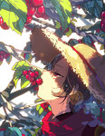 1boy brown_hair cherry dappled_sunlight earrings eating food fruit hanasaki_coa hat jewelry kashuu_kiyomitsu leaf male_focus mole mole_under_mouth red_eyes scarf straw_hat sunlight sweat touken_ranbu