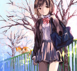 1girl bag bare_tree bow bowtie brown_eyes brown_hair cat expressionless looking_at_viewer nose_shade original pleated_skirt railing school_bag school_uniform short_hair skirt solo tan_(tangent) tree
