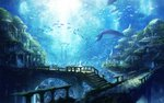 1girl animal architecture bell bird chitose_rin cityscape fish highres landscape moss original pillar railing scenery stairs tree underwater whale