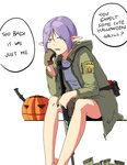 1girl aqua_eyes assault_rifle bare_legs between_legs brown_gloves elf english gloves gun halloween hood isagocha jack-o'-lantern jacket knife long_sleeves lr-300 military military_uniform open_mouth original pointy_ears purple_hair rifle shirt short_hair simple_background sitting solo too_bad!_it_was_just_me! uniform weapon white_background white_shirt