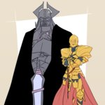 2boys black_cape c-3po c-3po_(cosplay) cape cosplay crossed_arms darth_vader darth_vader_(cosplay) facing_viewer fate/grand_order fate_(series) gauntlets gilgamesh gold_armor height_difference helmet horns king_hassan_(fate/grand_order) mask multiple_boys pauldrons standing star_wars sword weapon xxtakin
