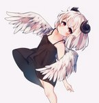 1girl absurdres angel_wings black_dress blush commentary_request dress expressionless feathered_wings highres horns kosobin leaning_back original red_eyes short_dress short_hair simple_background solo white_background white_hair wing_censor wings