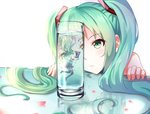 1girl bare_shoulders boots breeze_(wcf) detached_sleeves glass green_eyes green_hair hatsune_miku highres long_hair minigirl skirt submerged thigh_boots thighhighs twintails vocaloid water white_background zettai_ryouiki