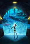 1girl animal aquarium_tunnel black_hair fish fishing_rod fluorescent_lamp from_behind holding holding_fishing_rod looking_back original oropi ponytail shorts solo thighhighs tree tunnel visor_cap watch whale wristwatch