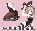 1girl animal_ears arm_support arm_up ass ass_visible_through_thighs backless_outfit bangs bare_shoulders black_bow black_footwear black_leotard black_neckwear black_ribbon blush bow bowtie breasts brown_eyes brown_hair brown_legwear bunny_ears bunny_tail bunnysuit detached_collar fake_animal_ears fake_tail girls_und_panzer head_out_of_frame high_heels highres horizontal-striped_legwear horizontal_stripes kneeling leaning_to_the_side leotard long_hair looking_at_viewer multiple_views no_shoes not_on_shana pantyhose pink_background ribbon shimada_arisu side-tie_leotard signature simple_background sitting small_breasts striped striped_legwear tail thighhighs twintails