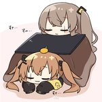 2girls :3 armband bangs black_jacket blush_stickers brown_hair chibi closed_eyes commentary dokumi eyebrows_visible_through_hair food food_on_head fruit girls_frontline hair_ornament hair_ribbon hairclip head_on_table jacket kotatsu long_hair lying mandarin_orange multiple_girls object_on_head on_stomach pink_background ribbon side_ponytail sleeping table twintails ump45_(girls_frontline) ump9_(girls_frontline) under_kotatsu under_table white_background