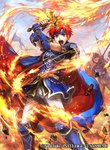 1boy armor belt blue_eyes cape commentary_request company_name copyright_name day faceless faceless_male fingerless_gloves fire fire_emblem fire_emblem:_fuuin_no_tsurugi fire_emblem_cipher gloves headband holding holding_sword holding_weapon male_focus official_art open_mouth outdoors pants red_hair roy_(fire_emblem) short_sleeves shoulder_armor sky standing sword wadadot_lv weapon