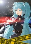 1girl absurdres aqua_eyes aqua_hair belt blurry caution_tape depth_of_field hatsune_miku highres icefurs keep_out long_hair looking_at_viewer necktie night open_mouth police skirt solo sunglasses twintails utility_belt very_long_hair vocaloid