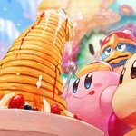 blue_eyes blue_sky blush_stickers commentary_request flower flowery_woods food fork fruit hand_on_head king_dedede kirby kirby_(series) mishio pancake plate red_eyes sky sparkle sparkling_eyes star strawberry sweat syrup tongue tongue_out waddle_dee whipped_cream