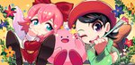 2girls ;d adeleine beret blue_eyes bow commentary fairy fairy_wings gashi-gashi hair_ribbon hat highres kirby kirby:_star_allies kirby_(series) kirby_64 lying multiple_girls on_stomach one_eye_closed open_mouth paintbrush pink_hair purple_eyes red_bow ribbon ribbon_(kirby) sitting smile smock socks solid_circle_eyes star_rod wings
