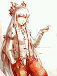 1girl aili_(aliceandoz) bow cigarette cowboy_shot dress_shirt fujiwara_no_mokou hair_bow hair_ribbon long_hair long_sleeves looking_at_viewer pants red_eyes red_pants ribbon shirt simple_background solo suspenders touhou tress_ribbon very_long_hair white_background white_hair white_shirt