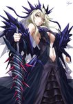 1girl armor artoria_pendragon_(all) artoria_pendragon_(lancer_alter) aura bangs bare_shoulders black_nails blonde_hair braid breasts center_opening cleavage clenched_hand crown_braid dark_persona dress earrings expressionless fate/grand_order fate_(series) floating_hair glint hair_between_eyes highres holding holding_weapon horns jewelry lace lace-trimmed_dress large_breasts long_hair looking_at_viewer navel purple_dress rhongomyniad sakiyamama serious sidelocks signature simple_background solo thighhighs tsurime underboob weapon white_background yellow_eyes