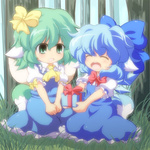 2girls animal_ears ascot blue_dress blue_hair bow box chibi cirno closed_eyes daiyousei dog_ears dog_tail dress forest gift gift_box green_eyes green_hair hair_bow holding holding_gift kemonomimi_mode multiple_girls nature nullpooo open_mouth short_hair sitting smile tail touhou v_arms