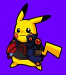 blue_background blush_stickers brown_gloves cosplay facial_mark fudou_yuusei fudou_yuusei_(cosplay) gen_1_pokemon gloves helmet holding holding_helmet jacket no_humans open_clothes open_jacket pikachu pokachuu pokemon pokemon_(creature) print_shirt shirt simple_background smile yuu-gi-ou yuu-gi-ou_5d's