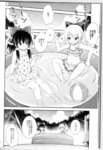 2girls absurdres check_translation comic greyscale hakurei_reimu highres hirasaka_makoto kirisame_marisa monochrome multiple_girls pool smile swimsuit touhou translation_request water