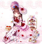 1girl boots bow bow_legwear brown_hair bunny cake cookie cup cupcake dessert dress eating flower food frilled_dress frilled_gloves frilled_hat frilled_legwear frills gloves handkerchief hat highres ib ib_(ib) kneehighs long_hair macaron petals pink_boots plate red_eyes red_rose rose teacup teapot ttaji_(pass35) white_gloves white_legwear