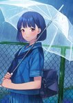 1girl bag bangs blue_hair blue_neckwear blue_sailor_collar blue_serafuku blue_shirt blue_skirt blush chain-link_fence closed_mouth commentary_request doushimasho eyebrows_visible_through_hair fence highres holding holding_umbrella looking_at_viewer neckerchief original outdoors pleated_skirt rain red_eyes sailor_collar school_bag school_uniform serafuku shirt short_hair short_sleeves skirt sky solo transparent transparent_umbrella umbrella