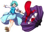 1girl aqua_eyes aqua_hair baba_(baba_seimaijo) commentary full_body geta heterochromia highres karakasa_obake long_sleeves looking_at_viewer open_mouth outstretched_arms puffy_sleeves red_eyes shirt short_hair skirt smile solo tatara_kogasa tongue touhou transparent_background umbrella vest