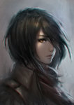 1girl black_hair brown_eyes chaosringen grey_background hair_over_one_eye jacket lips looking_at_viewer mikasa_ackerman nose parted_lips portrait realistic scarf shingeki_no_kyojin short_hair signature solo