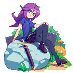 1girl abigail_(stardew_valley) bow choker cross-laced_footwear grass green_eyes hand_on_own_knee hood hooded_jacket jacket long_hair metata miniskirt open_clothes open_jacket pantyhose purple_hair short_sleeves sitting sitting_on_object skirt solo stardew_valley sword weapon