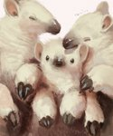 animal animal_ears anteater closed_eyes commentary_request grey_background highres looking_at_viewer manino_(mofuritaionaka) no_humans original signature simple_background