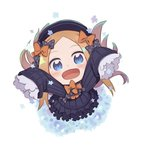 1girl :d abigail_williams_(fate/grand_order) arms_up bangs black_bow black_dress black_headwear blonde_hair blue_eyes blush bow bug butterfly chibi dress fate/grand_order fate_(series) from_above full_body hair_bow hat insect long_hair long_sleeves looking_at_viewer looking_up open_mouth orange_bow outstretched_arms parted_bangs polka_dot polka_dot_bow sleeves_past_fingers sleeves_past_wrists smile solo totatokeke very_long_hair white_background