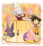 4boys :p animal antennae beerus black_eyes black_hair boots cape cat chibi closed_eyes commentary_request dessert dougi dragon_ball dragon_ball_z eating eyebrows_visible_through_hair finger_to_mouth fingernails food full_body gloves happy long_sleeves looking_at_another majin_buu male_focus multicolored multicolored_background multiple_boys open_mouth plate pudding short_hair smile son_gokuu spiked_hair spoon stargeyser tongue tongue_out whis white_hair