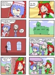 3girls 4koma :< :> >_< bat_wings beret blue_eyes blue_hair braid china_dress chinese_clothes closed_eyes comic dress eyebrows fang finnish_text hat hong_meiling izayoi_sakuya left-to-right_manga long_hair maid maid_headdress multiple_4koma multiple_girls no_mouth paint paintbrush parasol red_eyes red_hair remilia_scarlet setz sharp_teeth silver_hair slit_pupils smile teeth thick_eyebrows tongue touhou translated trim_brush twin_braids umbrella wings