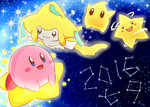 2016 :d black_eyes blue_eyes blush_stickers chiko_(mario) closed_mouth commentary commentary_request creature crossover densetsu_no_stafy facial_mark gen_3_pokemon green_eyes happy jirachi kirby kirby_(series) looking_at_viewer looking_away night night_sky nintendo no_humans open_mouth pink_skin pokemon pokemon_(creature) rophy sky smile star star_(sky) starfy starry_sky tanabata warp_star white_skin yellow_skin