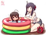 2girls ahoge alternate_costume artist_logo beanie black_hair blue_eyes blue_shorts blush braid brown_hair commentary_request cutoffs dated denim denim_shorts enemy_lifebuoy_(kantai_collection) eyebrows_visible_through_hair folded_ponytail hair_ornament hair_over_shoulder hat highres kanon_(kurogane_knights) kantai_collection long_hair mosquito_coil multiple_girls one-piece_swimsuit open_mouth partially_submerged red_eyes rubber_duck school_swimsuit shigure_(kantai_collection) shirt short_shorts shorts signature simple_background sleeves_rolled_up smile swimsuit tied_shirt wading_pool water white_background white_shirt yamashiro_(kantai_collection) younger
