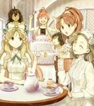 6+girls ;o alternate_costume atelier_(series) atelier_ayesha ayesha_altugle black_hair blonde_hair blouse bow brown_eyes brown_hair cake chair closed_eyes cup eating flower food fork fruit hair_bow hair_bun hair_flower hair_ornament hidari_(left_side) highres icing index_finger_raised knife layer_cake long_hair looking_at_another marietta_muir multiple_girls nanaca_grunden nio_altugle official_art one_eye_closed open_mouth payot ponytail red_eyes red_hair ribbon serving_spatula short_hair sitting slice_of_cake smile spatula standing strawberry strawberry_shortcake table tan tanya_volta tea tea_set teacup teapot wilbell_voll=erslied