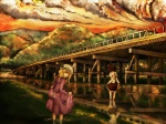2girls bad_id bad_pixiv_id black_hair blonde_hair bridge cloud commentary dress dusk hat kyoto looking_back maribel_hearn mountain multiple_girls real_world_location red_sky reflection river scenery sky togetsukyou_bridge tokoroten_(hmmuk) touhou usami_renko wading water yellow_eyes