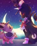ascot black_cape black_hat bloomers brown_eyes cape clothed_pokemon commentary_request crescent crescent_moon crescent_moon_pin eevee eye_contact flower gloves halloween halloween_costume hat height_difference looking_at_another moon mouth_hold necktie night night_sky no_humans pokemon pokemon_(creature) pyon_ko red_bloomers red_eyes red_flower red_neckwear red_rose rose sitting sky star_(sky) starry_moon starry_sky top_hat umbreon underwear white_gloves white_neckwear witch_hat