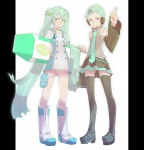 2girls black_legwear boots cosplay costume_switch crossover detached_sleeves eureka eureka_(cosplay) eureka_seven eureka_seven_(series) green_hair hatsune_miku hatsune_miku_(cosplay) legs long_hair multiple_girls short_hair stregoicavar thigh_strap thighhighs twintails very_long_hair vocaloid