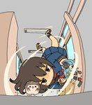 1girl blush_stickers brown_eyes brown_hair check_commentary cherry_tomato chopsticks commentary_request food hallway hedgehog highres holding holding_chopsticks jitome obentou omelet onigiri original running school_uniform serafuku shaded_face shoes short_hair stabbed tamagoyaki uwabaki yukimoto_shuuji_(gurigura)