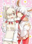 2girls alpaca_ears alpaca_suri_(kemono_friends) animal_ears bird_tail black_eyes brown_eyes closed_mouth commentary_request cover cover_page doujin_cover eyebrows_visible_through_hair floral_background frilled_sleeves frills fur-trimmed_sleeves fur_collar fur_trim gloves gradient_hair hair_over_one_eye hands_on_another's_shoulders head_wings horizontal_pupils japanese_crested_ibis_(kemono_friends) kemono_friends looking_at_another looking_back miniskirt multicolored_hair multiple_girls neck_ribbon pantyhose pink_skirt pleated_skirt red_gloves red_hair red_legwear red_ribbon ribbon shirt shorts skirt smile standing sweater translated umekichi v-neck white_hair white_shirt white_shorts white_sweater wide_sleeves yellow_eyes